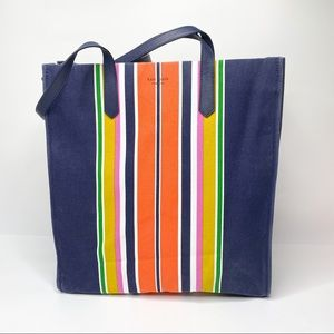Kate Spade Kitt North South Stripe Canvas Tote